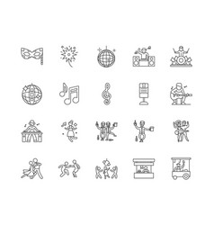 clubs line icons signs set outline vector image