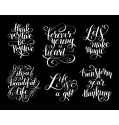 Collection of black and white positive typography vector