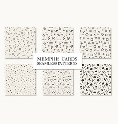 Collection of seamless memphis geometric patterns vector