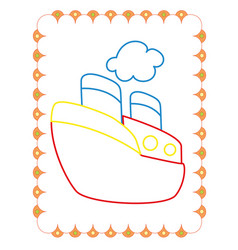 coloring book of cute big toy ship vector image