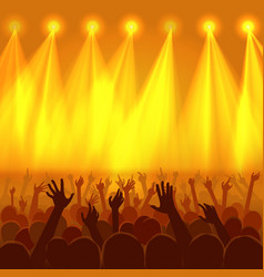 concert crowd with raised hands silhouettes vector image