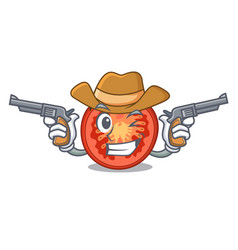 Cowboy character tomato slices for food decor vector