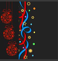 decorative balls confetti stars ans snowflakes vector image