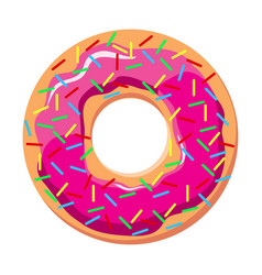 Donut with pink frosting and sprinkles vector