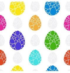 Easter rainbow eggs seamless pattern vector image