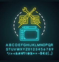 Electronics industry neon light concept icon vector