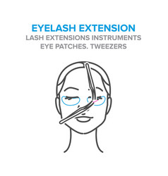eyelash extension process tweezers eye patches vector image