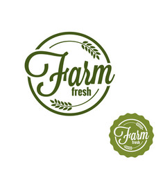 farm fresh logo farm produce stamp set on white vector image