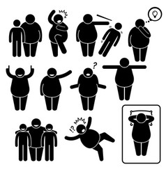 Fat man action poses postures stick figure vector