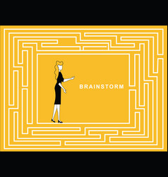 female brainstorm in puzzle path vector image