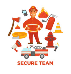 firefighting and fire protection poster of vector image