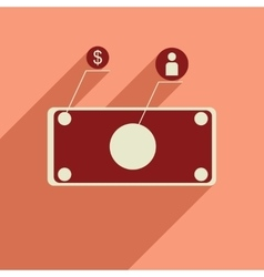 Flat web icon with long shadow banknote vector