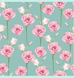 floral seamless pattern with pink eustoma flowers vector image
