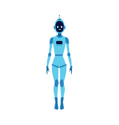 futuristic cartoon robot woman smiling and vector image