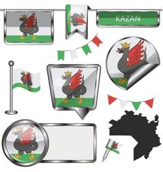 Glossy icons with flag kazan vector