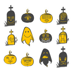 halloween emotions set vector image