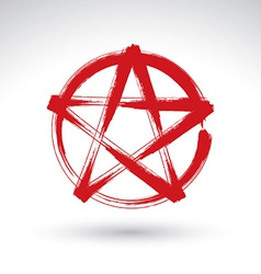Hand drawn pentagram icon scanned and brush vector