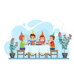happy children celebrate birthday party sitting vector image