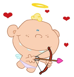 Happy Flying Baby Cupid vector image