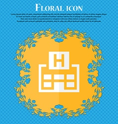 Hotkey Floral flat design on a blue abstract vector