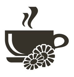 icon cup of hot tea with chamomile flavor logo in vector image