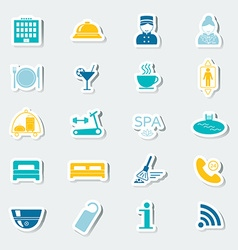 Icons set hotel services Colorful stickers vector image
