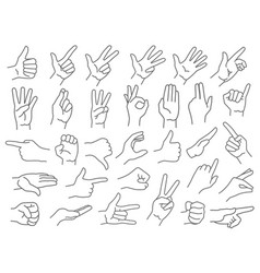 line hands gestures like and dislike hand gesture vector image