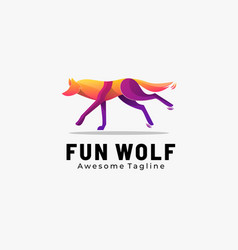 logo fun wolf gradient colorful style vector image