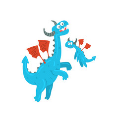 Loving mother dragon and her baby cute blue vector