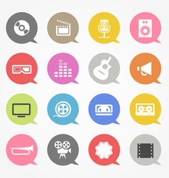 Media web icons set in color speech clouds vector image