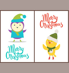 merry christmas banners congratulation from birds vector image
