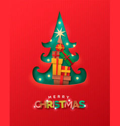 merry christmas papercut pine tree gift box card vector image