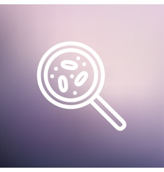 Microorganisms under magnifier thin line icon vector