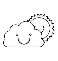 monochrome contour of smiling cloud with sun vector image