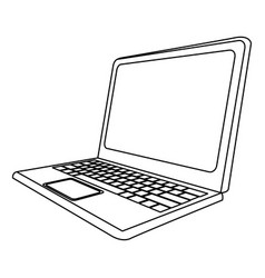 Monochrome contour with laptop side view vector
