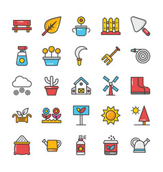nature colored icons set 5 vector image