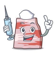 Nurse pork lard character cartoon vector