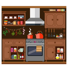 Old kitchen with buffet gas stove and kitchen vector