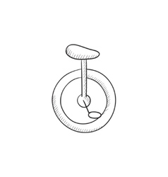 One wheel bicycle sketch icon vector image