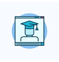 Online education blue icon vector