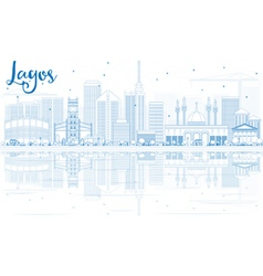 Outline Lagos Skyline with Blue Buildings vector image