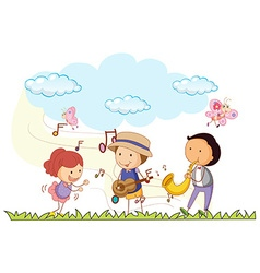 People playing music in the park vector image