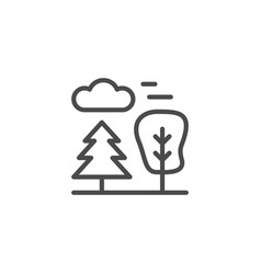pine and tree line outline icon vector image