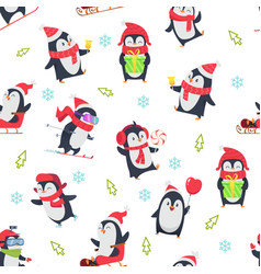 pinguin seamless pattern cartoon textile design vector image