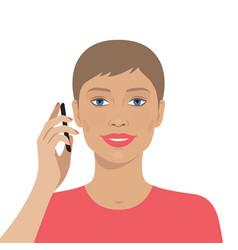 portrait of woman talking on the mobile phone vector image