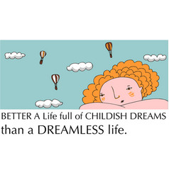 Positive thinking dreaming girl vector