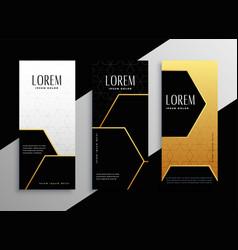Premium golden vertical banner cards set vector