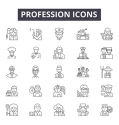 profession line icons signs set outline vector image