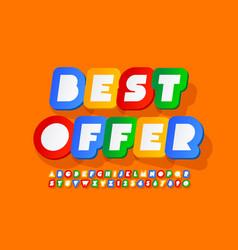 promotion poster best offer colorful font vector image