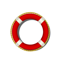 Red life buoy with rope around vector